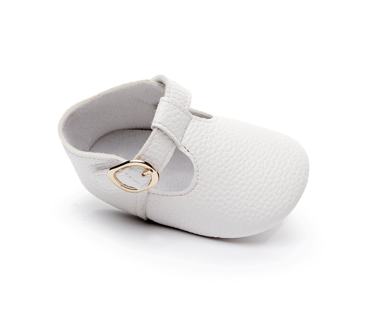HONGTEYA Baby Girls Pure T-Strap Moccasins - Newborn First Walker Mary Jane PU Soft Soled Shoes (Size:12-18 Months/US 6/5.12''/See Size Chart, White) by HONGTEYA (Image #5)