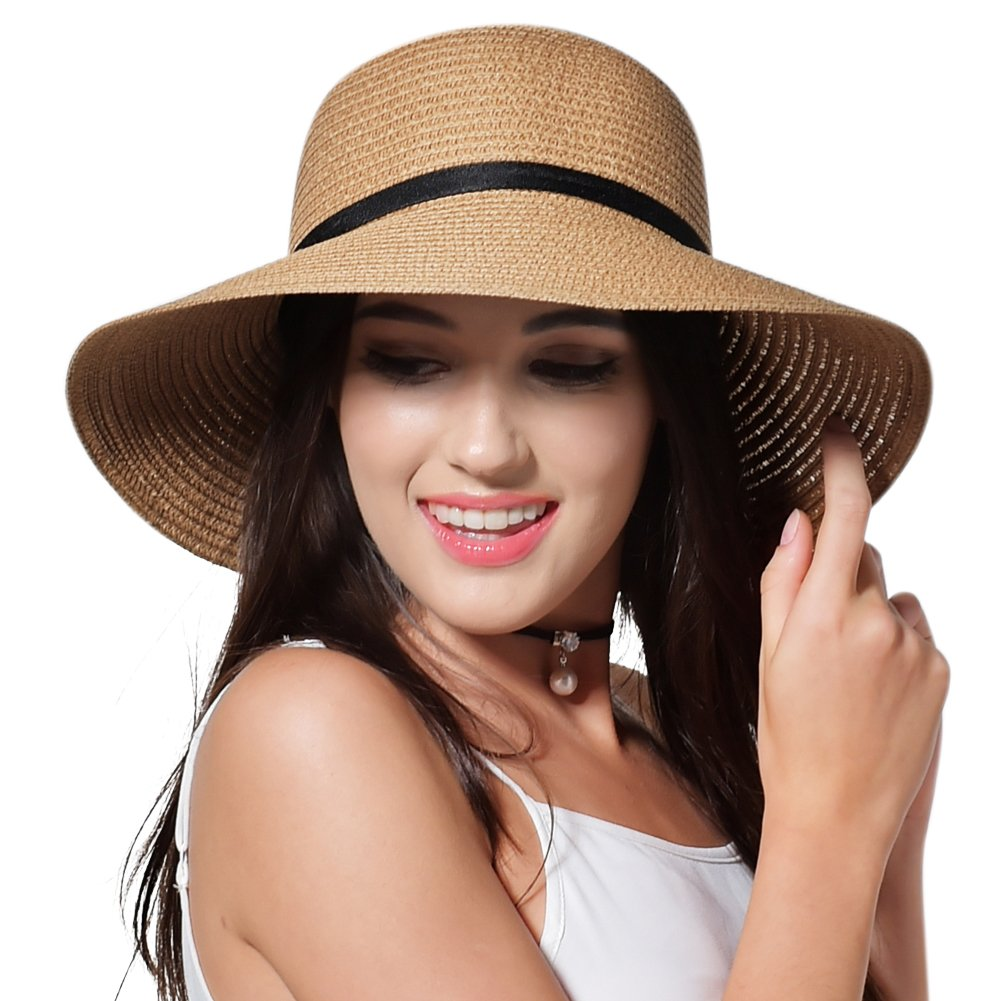 FURTALK Sun Straw Hat for Women Girls Travel Packable Cap with Chin Strap