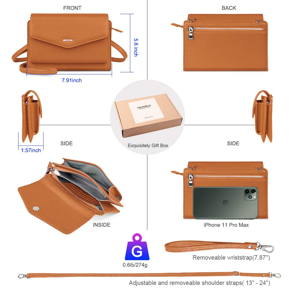 nuoku kuvertplånbok dam liten axelväska aftonväska med RFID skydd 2 remmar BRUN