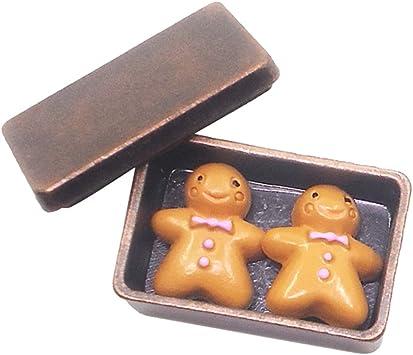 Escala 1/12 Galletas con Caja de Almacenaje en Miniaturas Accesorio Decorativo de Dollhouse - Bronce: Juguetes y juegos - Amazon.es