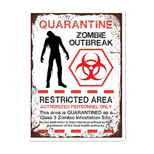 Froy Quarantine Zombie Outbreak Pared Cartel de Chapa Retro ...