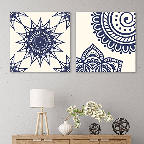 2 Panel Square Deep Blue Floral Pattern Patterns Gallery x 2 Panels