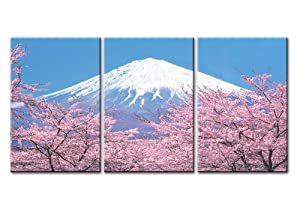 Canvas Print Wall Art Painting For Home Decor Peak Of Mount Fuji With Cherry Blossom Sakura In Blue Sky View From Lake Kawaguchiko Japan In Spring 3 Pieces Panel Paintings Modern Giclee Stretched And Framed Artwork The Picture For Living Room Decoration Landscape Pictures Photo Prints On Canvas