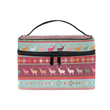 ad3605b9fe3da Amazon.com   Knit Christmas Sweater Travel Makeup Cosmetic Case Storage Bag  Organizer Portable Adjustable Dividers for Cosmetics Makeup Brushes  Cosmetic ...