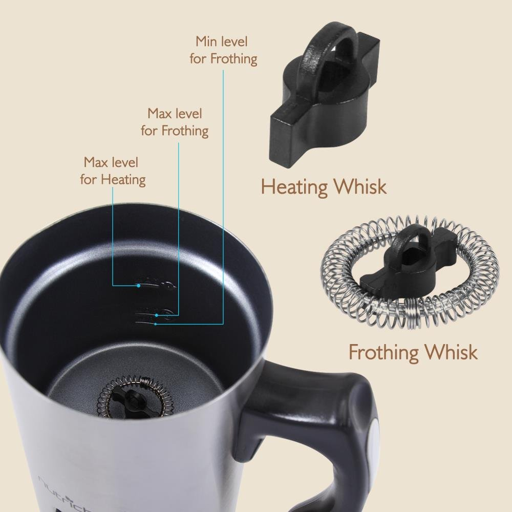 NutriChef Upgraded Dual Electric Milk Frother and Warmer - Sleek Compact Stainless Steel Steamer w/ Automatic Power Off Function and LED Light Indicator Perfect for Foamer and Creamy Latte - PKMFR14 by NutriChef (Image #3)