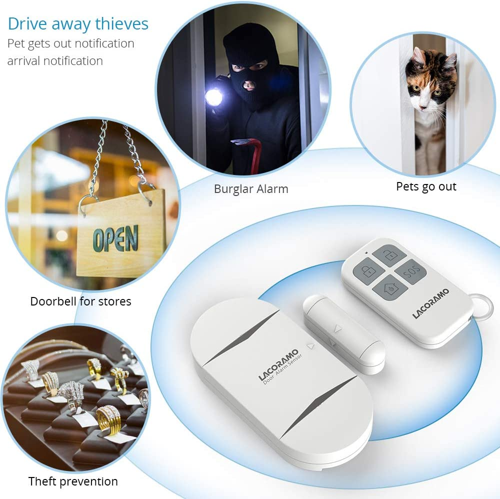 Home 130db Wireless Magnetic Contact Sensor Door Entry Burglar Alert Security System for Protecting Kids Safety Store 4pack 2 Remote Controls LACORAMO Door Alarm Sensor Premium Quality