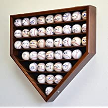 43 Baseball Display Case Cabinet Holder Wall Rack Home Plate Shaped w/ UV Protection- Lockable -Walnut