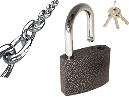 ROLLYWARE� India's Heavy Duty Steel Padlock Safely Lock Interior or Exterior Gates, Sheds, Lockers, Bikes, Tool Box, or Containers. Includes 3 Master Keys