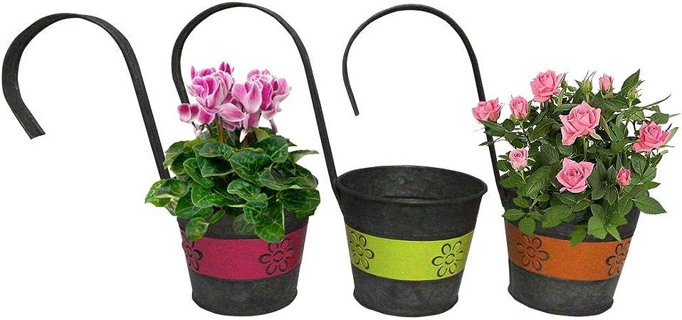 1X Metal Iron Flower Pot Hanging Balcony Garden Plant Planter Home Decor FJ
