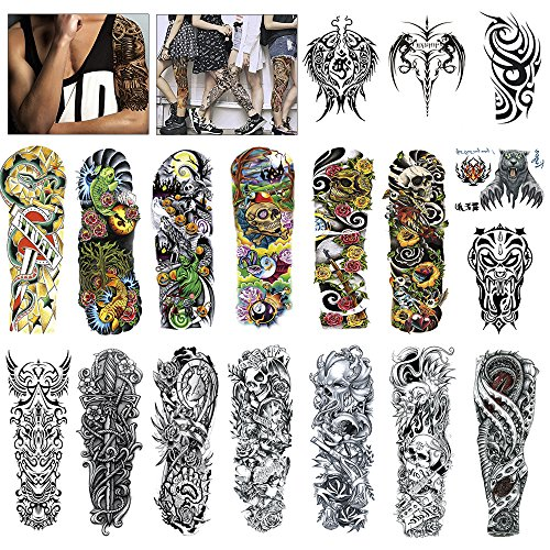 MelodySusie Full Arm Temporary Tattoo for Men Women, 18 Sheets Black Tattoo Body Sticker Tattoos, for Masked Balls, Festivals, Shows, Street Art