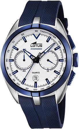 Lotus 181891 Reloj de Pulsera Hombre, Caucho, Color Azul