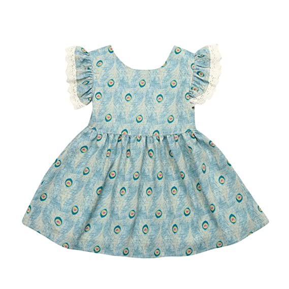1b9862bef Staron Baby Boy's Dress Peacock Feathers Print Ruffles Dresses Outfits:  Amazon.in: Clothing & Accessories
