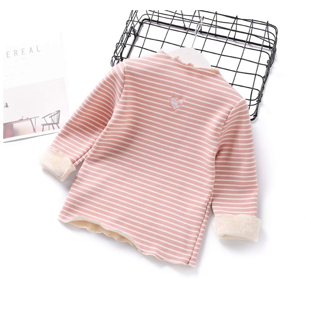 Age:12-18Months, White Toddler Baby Kid Girls Warm Plush Thick Sweatershirt Tops Long Sleeves Striped Heart Shape Ruched Turtleneck Shirt Blouse Tunic