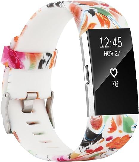 Imagen deFit-power para Fitbit Charge 2 Bandas, Suave y Ajustable Repuesto de Pulsera Deportiva para Fitbit Charge 2 pequeño/Grande