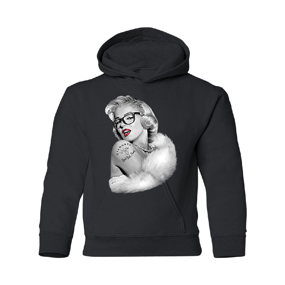 Christmas Ugly Sweater Co Blonde Marilyn Monroe Youth Hoodie Bombshell Wear Glasses Diamond Tattoo Black Youth X-Small