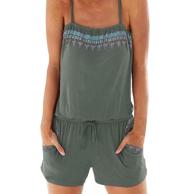 MRULIC Damen Träger Jumpsuit Overall Einteiler Romper Hosenanzug Kurz  Rückenfrei Ärmellos V Ausschnitt Stretch Locker ( 0d0e68ab44
