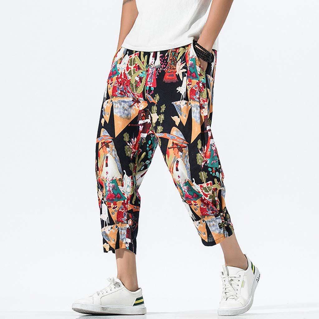 Xmiral Pantaloni Uomo Harem Basso Slim Fit Stile Hippop Patchwork Casuale Vintage Loose Cotton Linen Plaid Patchwork