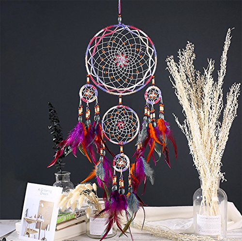 """VOEN Dream Catcher Handmade Wall Home Party Hanging Decoration Ornament Natural Feather Weave Web Beaded Dreamcatcher Traditional Craft Gifts for Kids, Lovers, Family- 27.55"""" Long"""