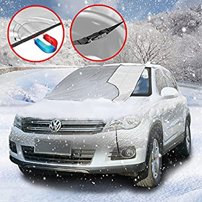 SCM Frost Windshield Cover, Ice and Frost Guard Fits SUV, Truck & Car Windshields, Magnetic Snow Multi-used as Outdoors Picnic Mats, Double protection ( Magnetic and Buckle; 215 x 125 cm)