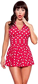 product image for Esther Williams Marilyn 1 Piece Red Polka Dot Halter Skirt Swim-Suit Retro