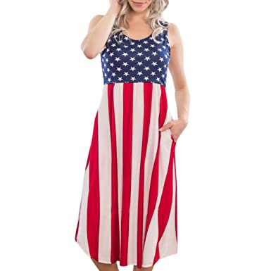 da682685b94 Lethez Clearance Women American Flag Stars Striped Sundress Casual Beach  Long Dress for 4th of July