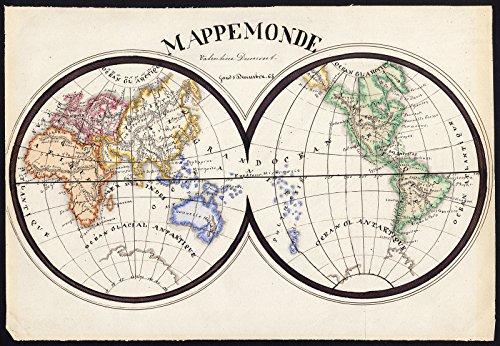 (Unique Manuscript Map-WORLD-DOUBLE HEMISPHERE-MAPPE MONDE-Dumont-1865)