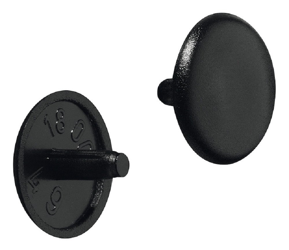 Gedotec RAL 9005 Lot de 100 cache-vis ronds en plastique pour meubles Noir 12 x 2,5 mm