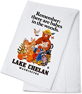 product image for Lake Chelan, Washington - Smokey Bear - Babes in the Woods - Vintage Poster (100% Cotton Kitchen Towel)