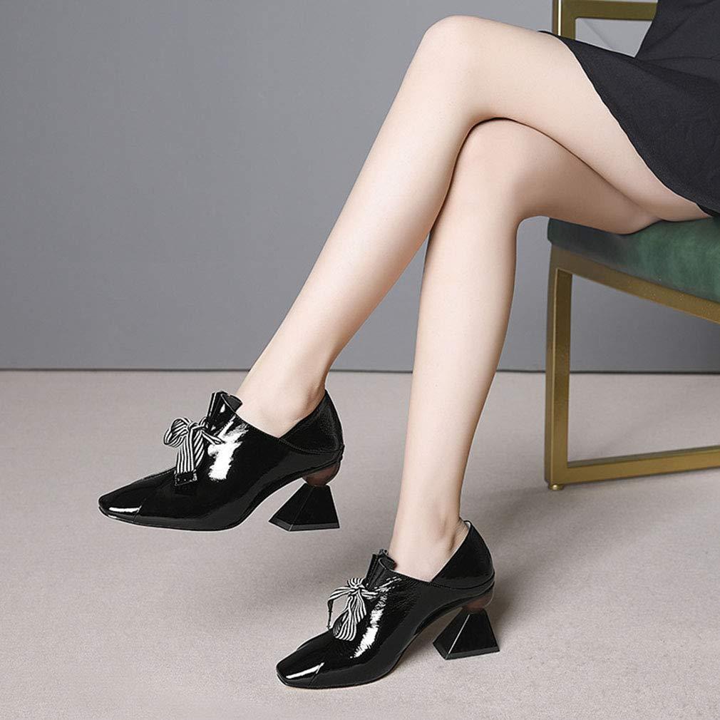 Gfphfm Damenschuhe Square Head Lace-Up High High High Heels 2019 Neuer Frühling Fall Thick Heel Leder Damen Schuhe,schwarz,38 a4993c
