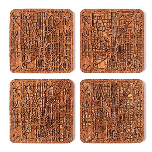 (Indianapolis Map Coaster, Set of 4, Sapele Wooden Coaster with city map, Multiple city optional, Handmade)