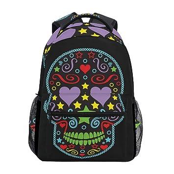 TIZORAX Sugar Skull Backpack School Bag Bookbag