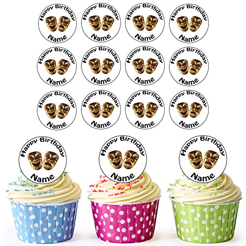 [AKGifts Comedy And Tragedy Masks 24 Personalised Edible Cupcake Toppers / Birthday Cake Decorations - Easy Precut Circles (7 - 10 BUSINESS DAYS DELIVERY FROM UK)] (Easy 80's Costume Ideas)