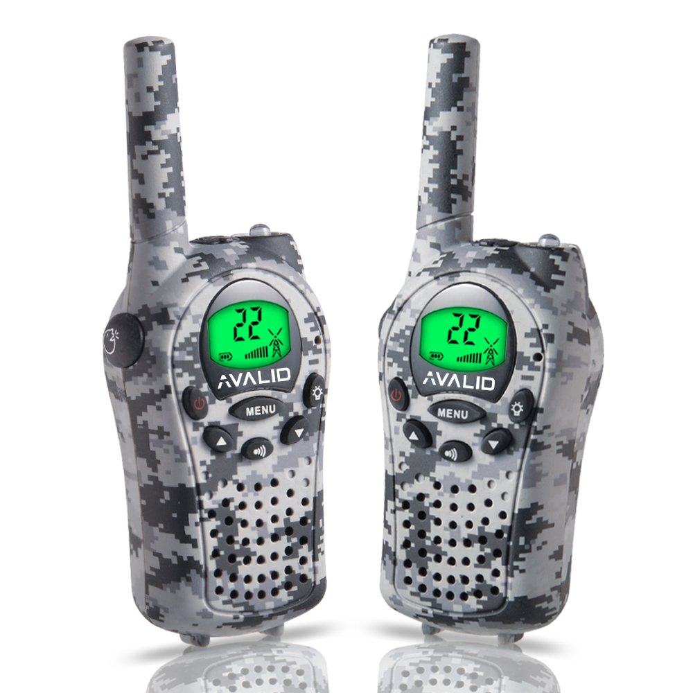 AVALID Walkie Talkies for Kids, 22 Channel FRS/GMRS Long Range 5KM Two-Way Radios with Free Straps, Ultra-Long Standby/Back-Lit LCD Screen Radio Walkie for Indoor/Outdoor Activities (Pair,Green Camo)