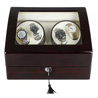 Excelvan – Vitrina para relojes, joyero para relojes, rectangular, expositor de relojes automático, para 4 Relojes con cierre, R2462EB: Amazon.es: Relojes