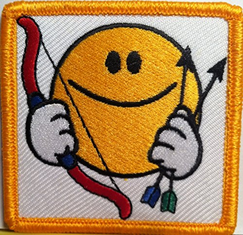 Happy Face With Bow and Arrow Embroidery Iron-On Patch Biker Emblem