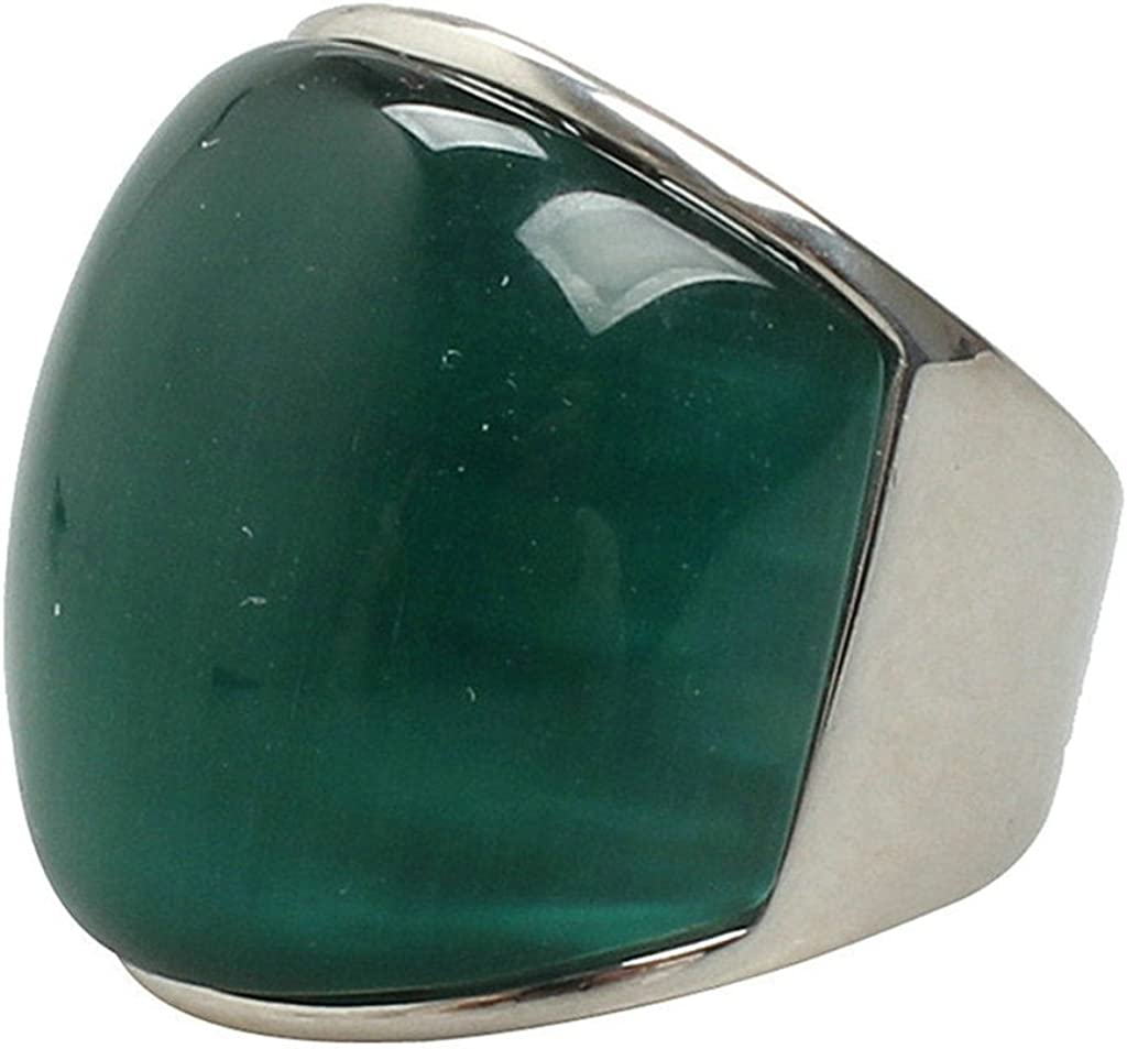 Aooaz Mens Stainless Steel Ring Silver Plated Exaggerated Grass Green Stone Royal Retro Wedding Band
