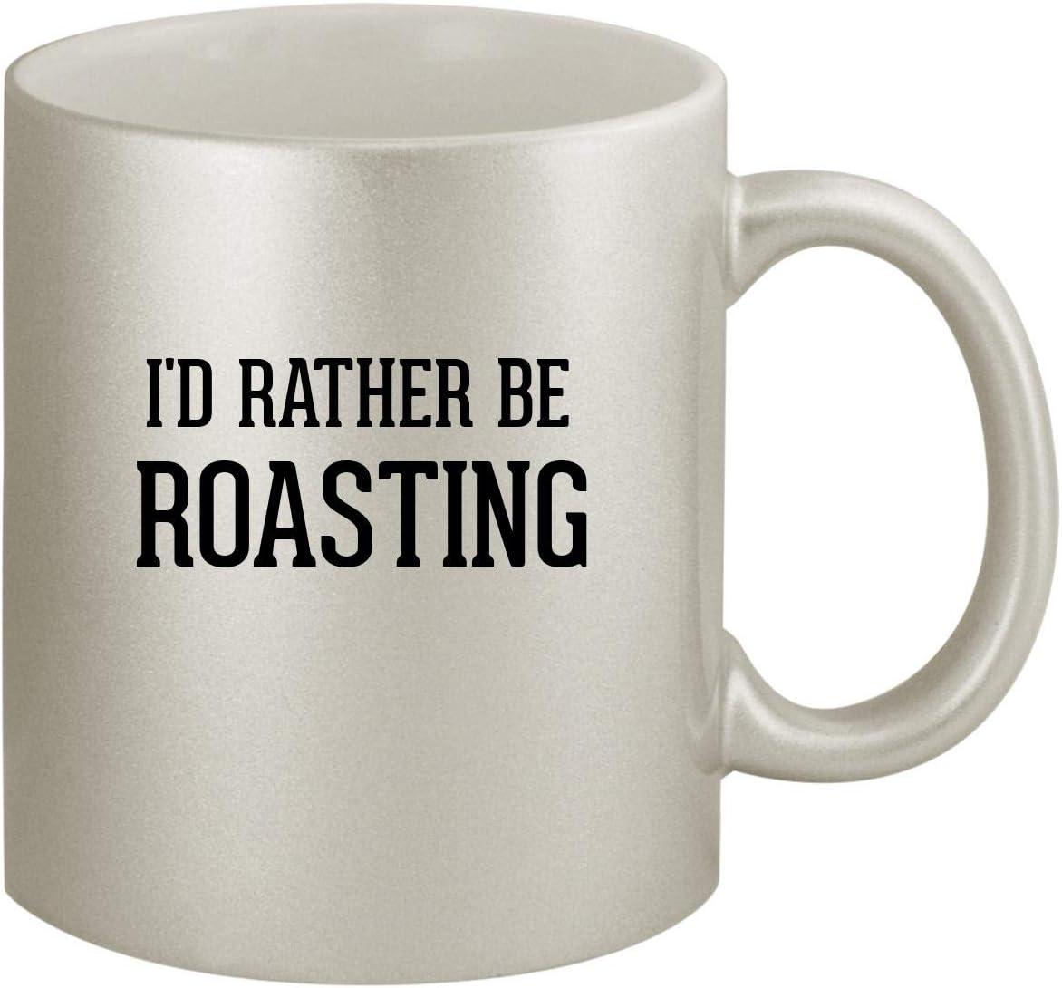 I'd Rather Be ROASTING - Ceramic 11oz Silver Coffee Mug, Silver