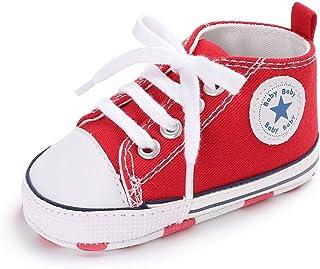 Babycute Infant Nouveau bébé garçon Fille Semelle Souple antidérapant sur Toile Sneakers Cheville Chaussons première Chaussures de Marche décontracté Sport