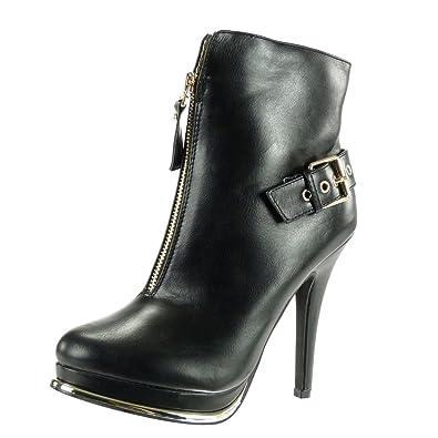 Angkorly Damen Schuhe Stiefeletten - Plateauschuhe - Sexy - Stiletto - Schleife - Golden Stiletto High Heel 12 cm - Schwarz G200-2 T 39 OFGYH