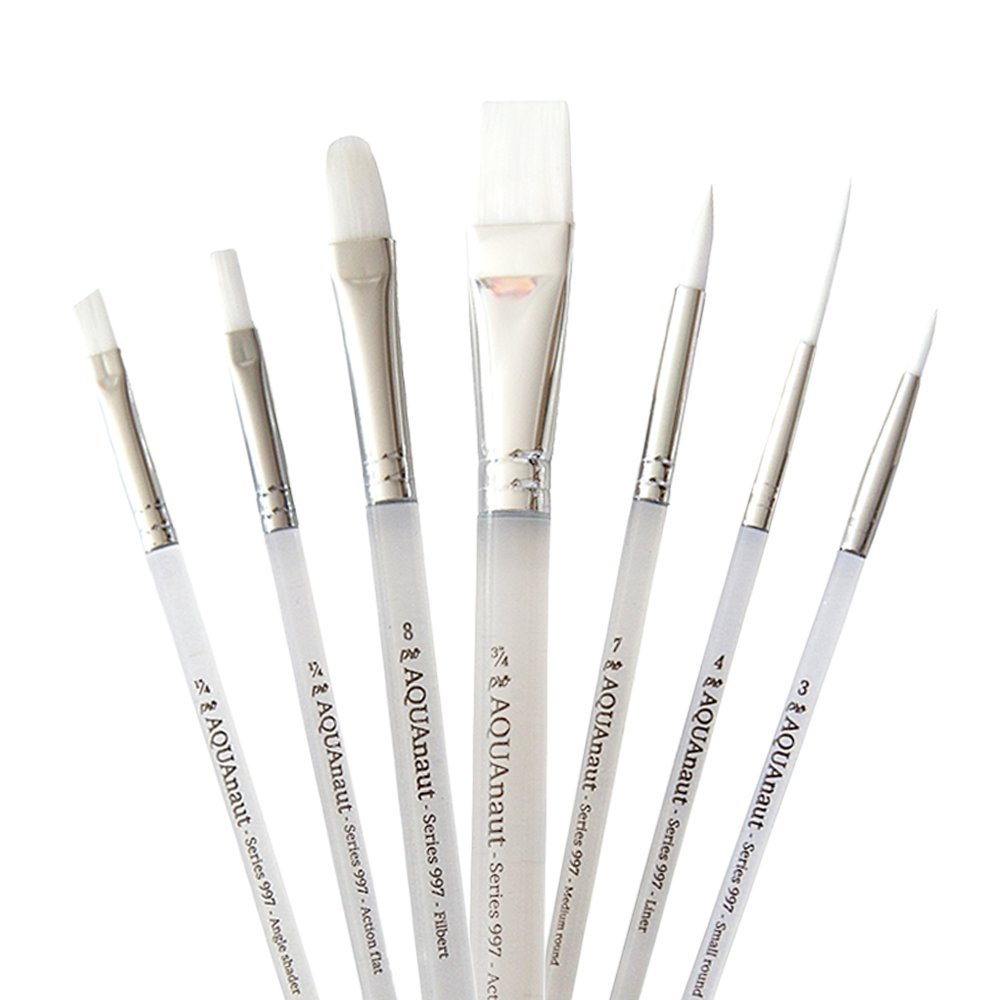 AQUAnaut Series 997 Expansion Set 7-Piece Paint Brushes Best for Watercolors, Acrylic and Oils, Short Bevel Handles …