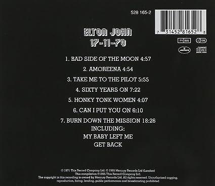 Elton John 17.11.70 Album Men/'s X-Large T-Shirt