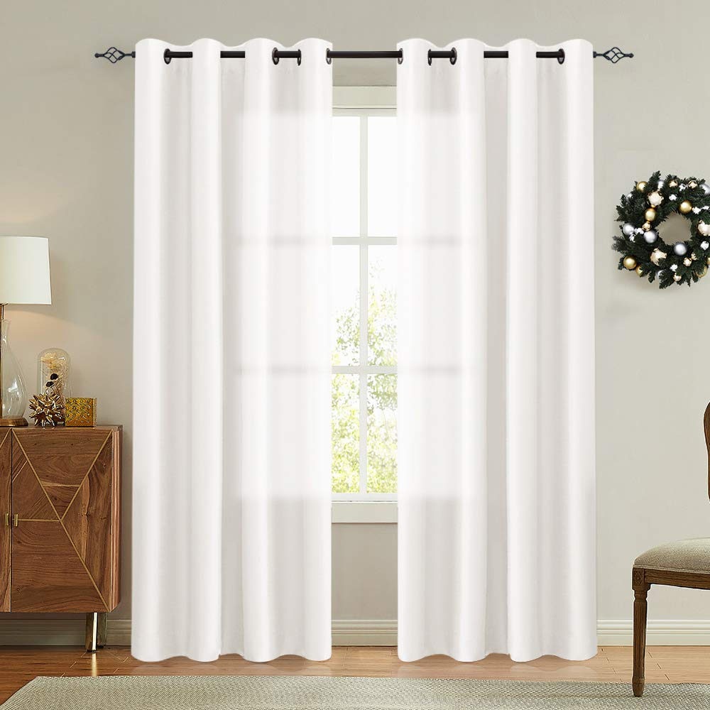 Vangao White Curtains 84 Inches Long Faux Silk Opaque Curtain Light Filtering Living Room Satin Drapes Privacy Window Treatments Set For Bedroom Grommet Top 2 Panels Buy Online In China At Desertcart