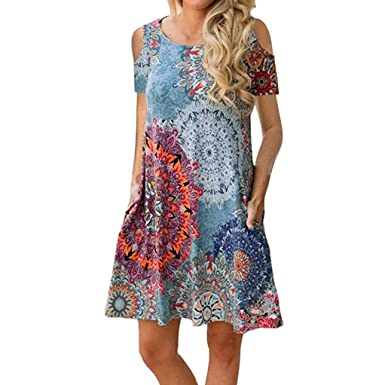 d54142abdb1 Frashing Schulterfreies Kleid Frauen Frühling Herbst Sommer Lose Kurze  Ärmel Casual Kleid Blusen Kleid Lose Tunika Casual T-Shirt Kleid  Blumenmuster Lange ...