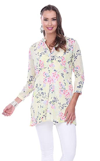 0765cd15674 Parsley & Sage Sunny, 3/4 Sleeve Henley Tunic Top on a Floral ...