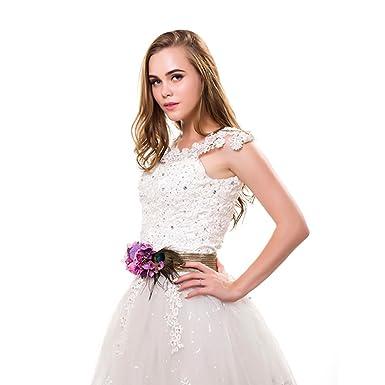 Ever Fairy moda flor cinturones para mujer niña dama de honor vestido de satén cinturón boda fajas cinturón de la pluma tela elástica cinturón accesorios ...