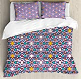 Arabian Queen Size Duvet Cover Set by Ambesonne, Geometric Lines and Stars Based on Traditional Oriental Eastern Artistic World, Decorative 3 Piece Bedding Set with 2 Pillow Shams, Multicolor