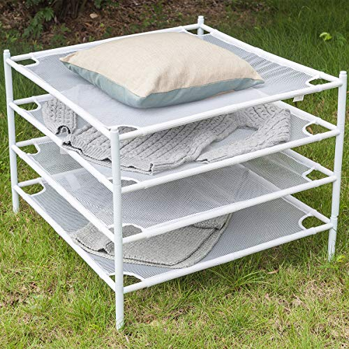 STORAGE MANIAC Flat Sweater Drying Rack Mesh Stackable Clothes Drying Rack for Laundry, White, 4-Pack