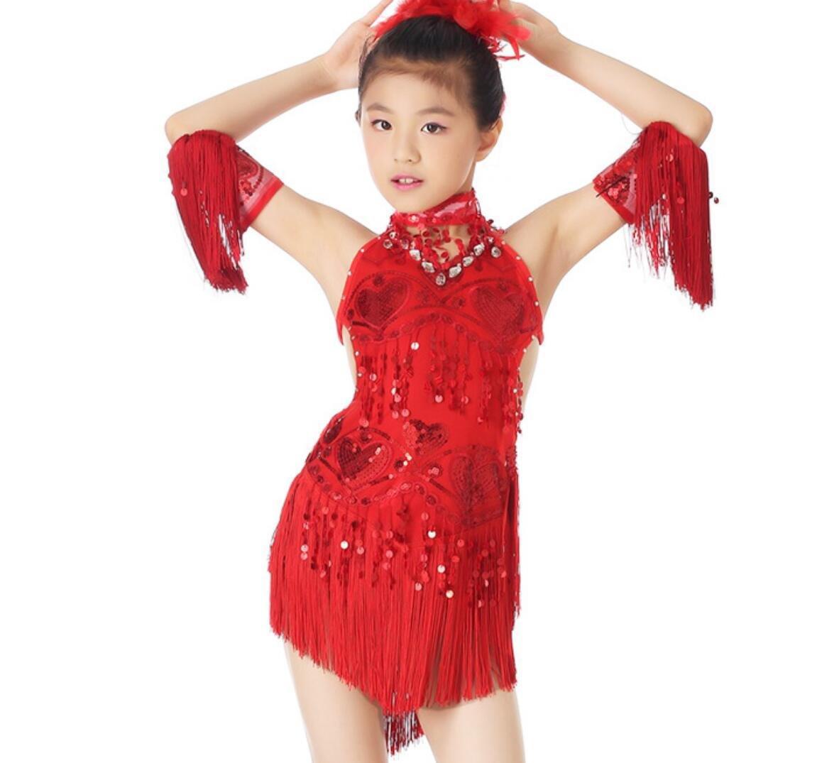 Rouge Costume de Danse de Danse Latine Enfants Robe de Danse Latine Su Liu Jupe de Danse Latine Blanc Jaune   Rose Rouge Rouge   Bleu XXL