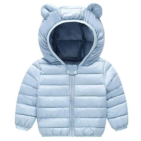Bebé Chaqueta de Pluma Invierno Abrigo con Capucha Ligero Trajes Ropa de Calle Azul 6-