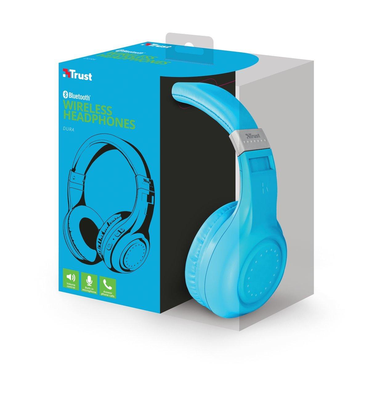 Trust Urban Dura - Auriculares inalámbricos con tecnología Bluetooth, para Llamadas telefónicas y música, Color Azul: Amazon.es: Electrónica